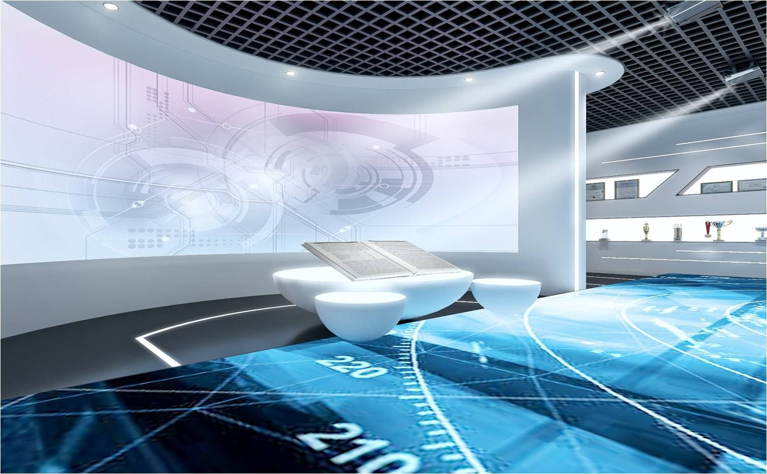 企业文化地面互动走廊与弧形幕布效果图